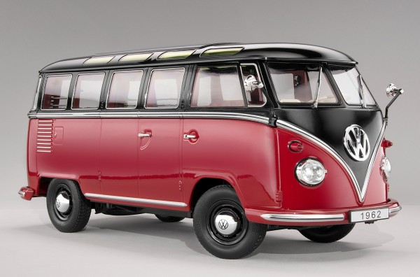 KKScale VW Samba Bus, dunkelrot/schwarz